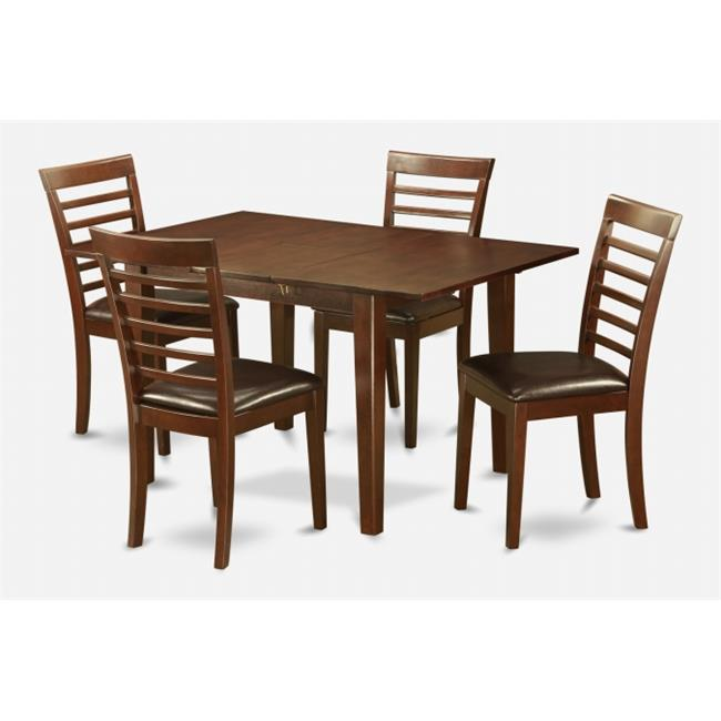 East West Furniture PSML5-MAH-LC 5 Pc Dining Table 32x60in With 4 Ladder Back Faux Leather Seat Chairs