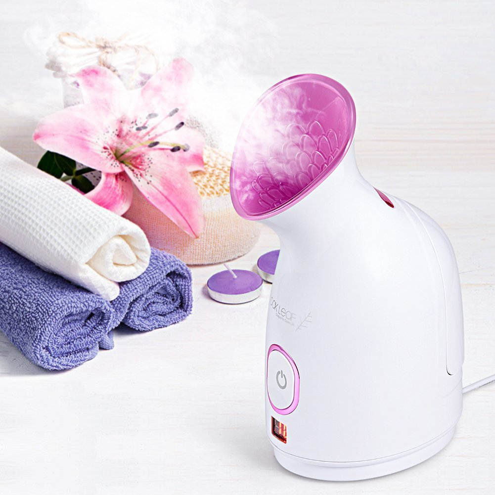 Oak Leaf Nano Ionic Facial Steamer Facial Sauna System, Portable Hot Mist Moisturizing Cleaning Skin Care Humidifier Spa Face Steamer