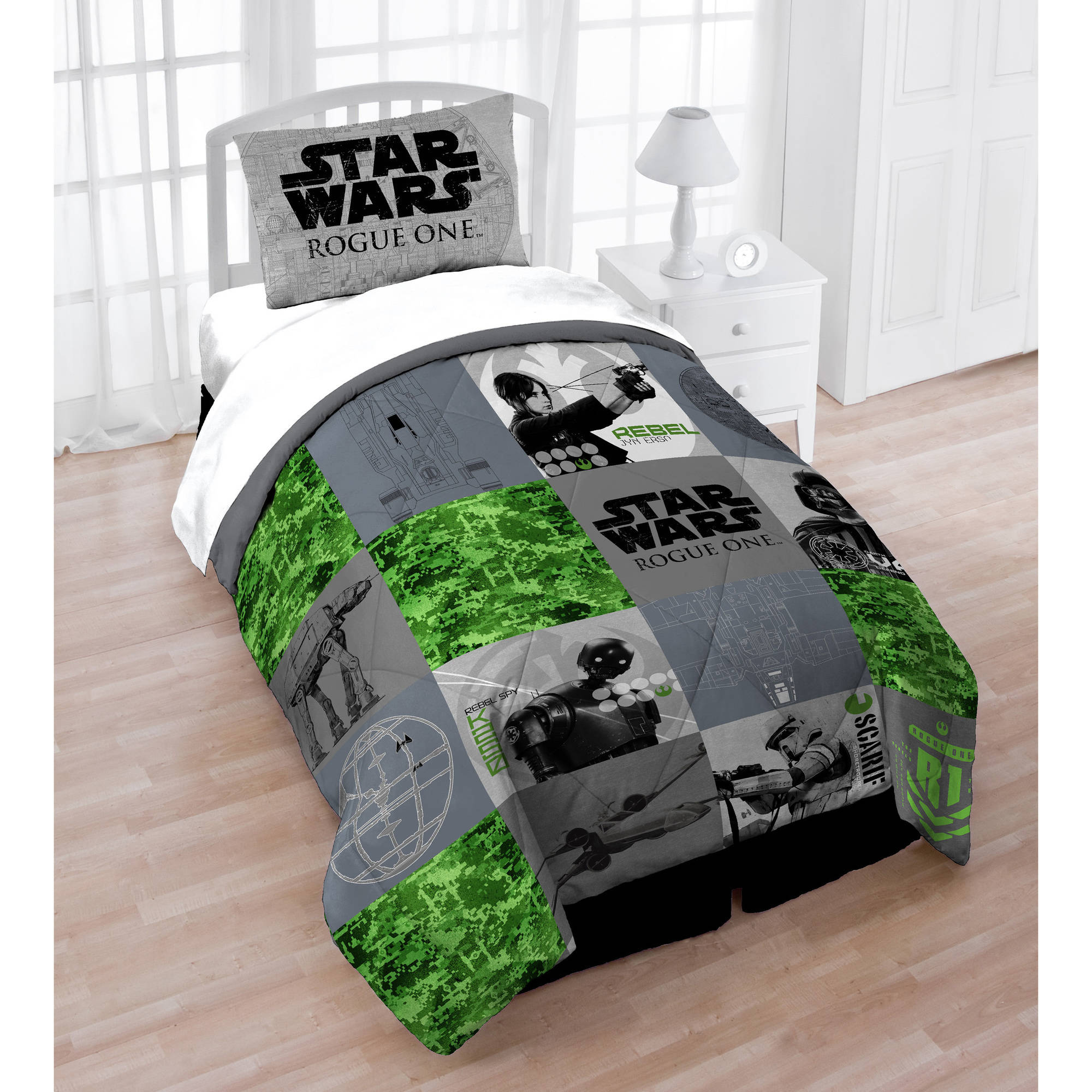 star wars rogue one bedding twin/full quilt and sham set - walmart