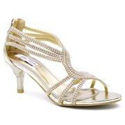SheSole Women's Open Toe Dress Sandal Low Heel Wedding Shoes Gold