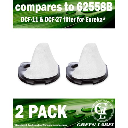2 Pack For Eureka DCF-11 & DCF-27 Allergen Dust Cup Filter for EasyClean (70 Series) Hand Vacuum Cleaners (compares to 62558B) . Genuine Green Label product Dcf 15 Dust Cup Filter