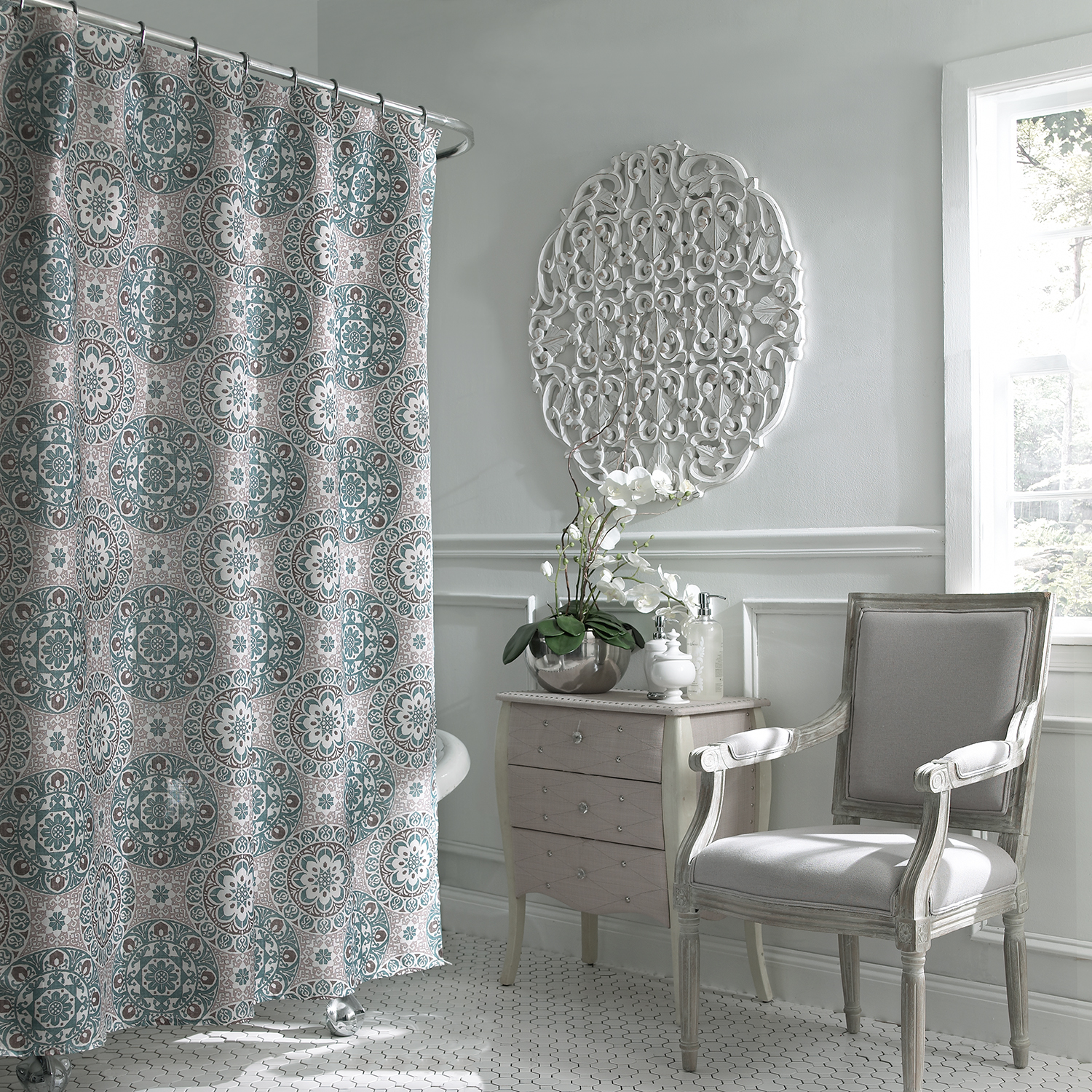 Carthe Boho Chic Fabric Shower Curtain