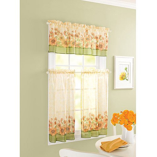 better homes and gardens sunflower tier curtain and valance set. Black Bedroom Furniture Sets. Home Design Ideas