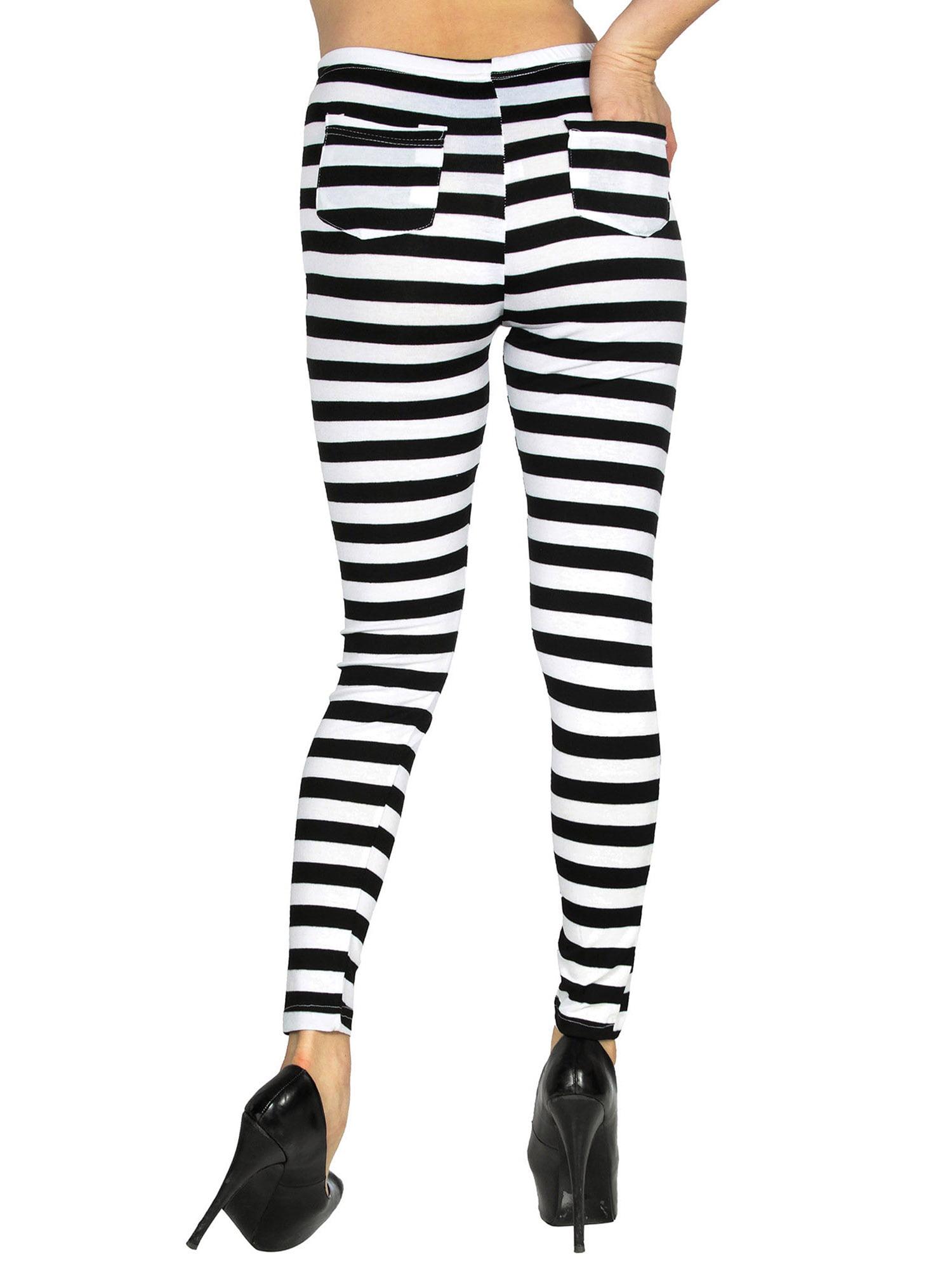2db93b889f065 BASILICA - Women's Soft Black White Horizontal Striped Leggings w/ Back  Pockets - Walmart.com