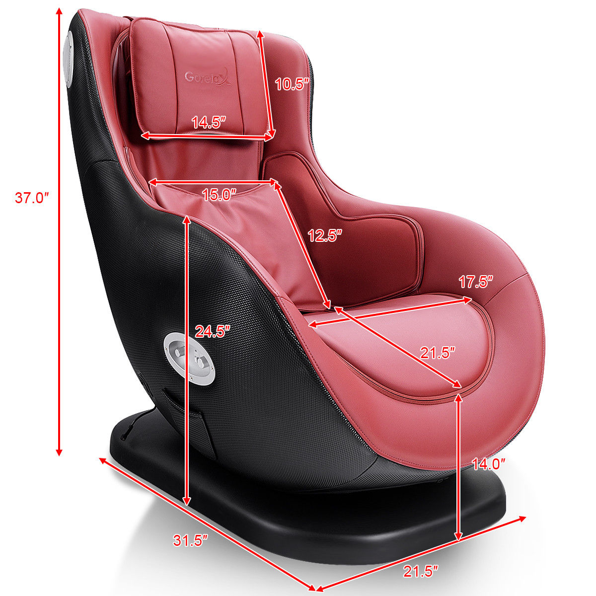 Luxury Massage Chair Heated W/ Bluetooth Speaker &USB Charger - image 2 of 10