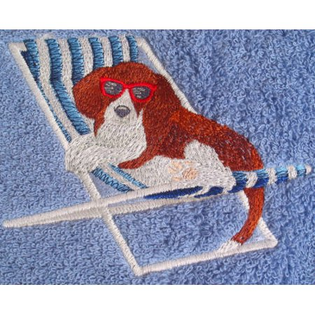 Big Black Horse Embroidered Beagle Dog in a Beach Chair Towel Set - Green ()