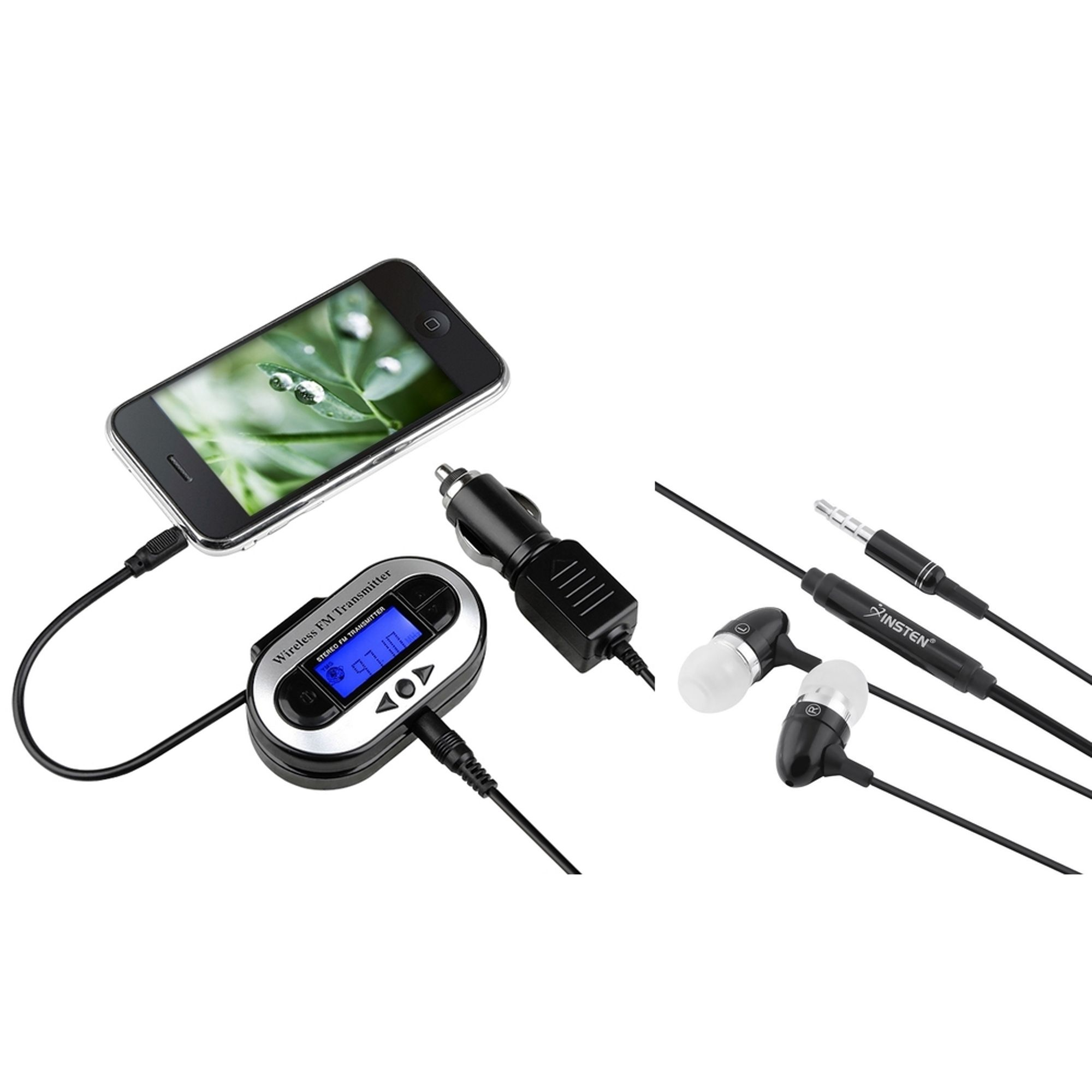 Insten FM Transmitter Car Adapter + Handsfree Headset For iPhone 6 6S Plus SE 5 5S 5C 4S / iPod Nano Touch 4th 5th 6th