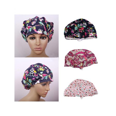 Floral Print Scrub Cap Hospital Medical Surgical Surgery Hat for Doctor Nurses