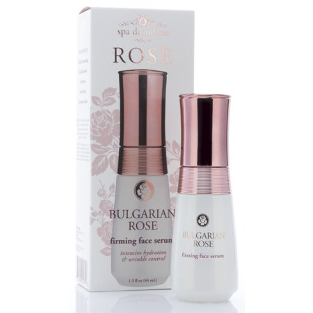 Spa Di Milano Bulgarian Rose Face serum with Hyaluronic Acid, Vitamin C, Honey, and Green Tea. Anti-aging serum softens the look for wrinkles, expression lines, dark spots, and dry skin.