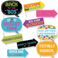 Funny 80's Retro - Photo Booth Props Kit - 10 Piece