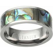 Men's Abalone Inlay Titanium Fashion Ring, 8mm