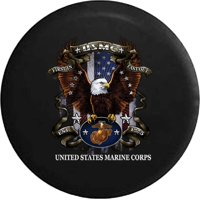 USMC American Eagle Military Flag First In Last Out Spare Tire Cover fits Jeep RV 29 Inch