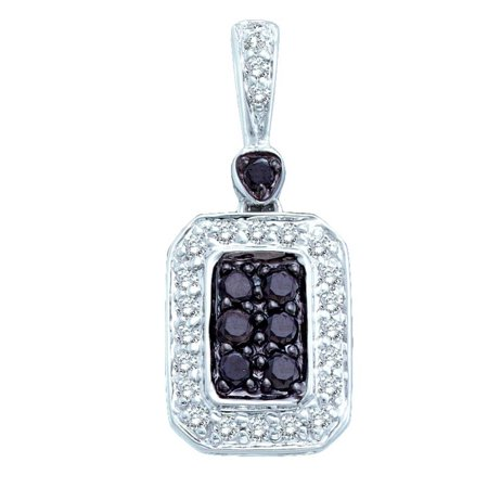 14k White Gold 0.26Ctw Black & White Diamond Ladies Fashion Pendant