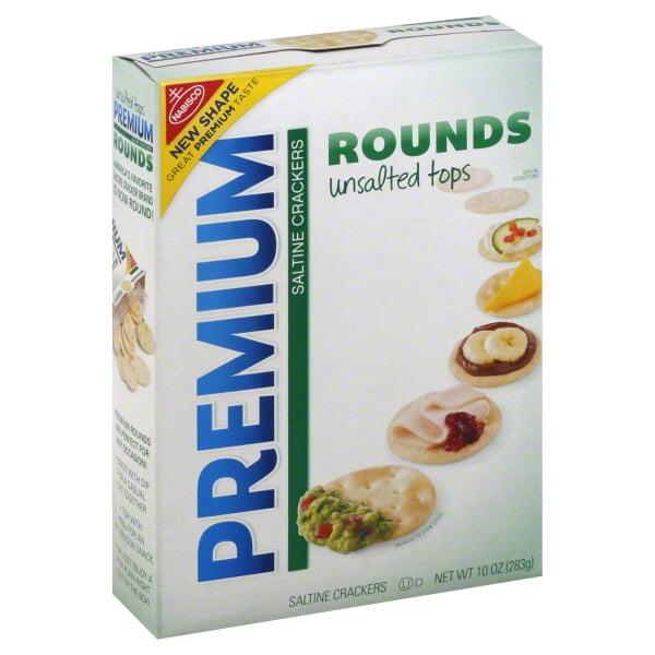 Premium Rounds Unsalted Tops Saltine Crackers, 10 Oz.