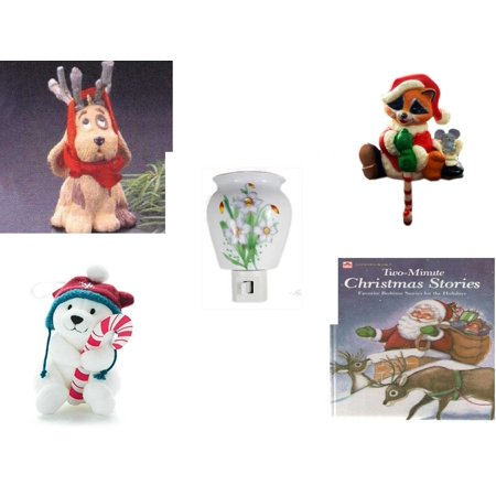 - Christmas Fun Gift Bundle [5 Piece] - Hallmark Reindoggy Ornament QX4527 - Raccoon Santa Small Stocking Hanger - Flower Nightlight Lily - Snowby the Polar Bear Ornament and Candy Cane Holder By Hall
