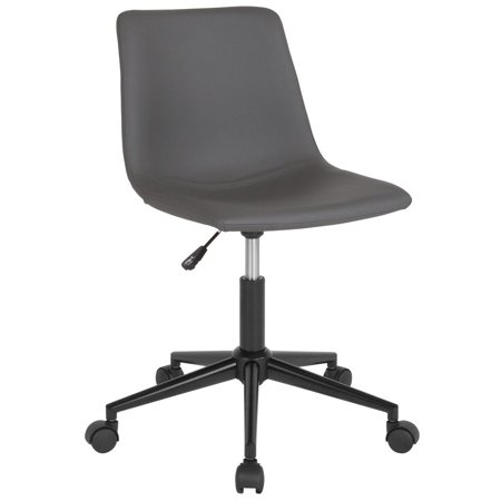 Home and Office Armless Task Chair with Double Line Stitch Detail in Gray Leather