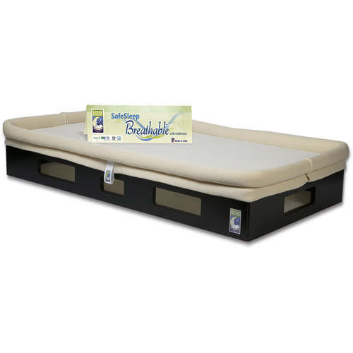 SafeSleep Breathable Crib Mattress, Espresso Base, Khaki Surface by Secure Beginnings
