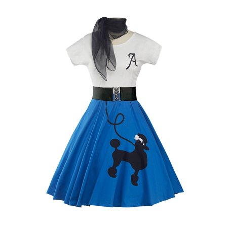 LWomen Vintage Style Swing Dress+Scarf Poodle Printed Letter Print Lady Rockabilly Evening Cocktail Short Sleeve Retro