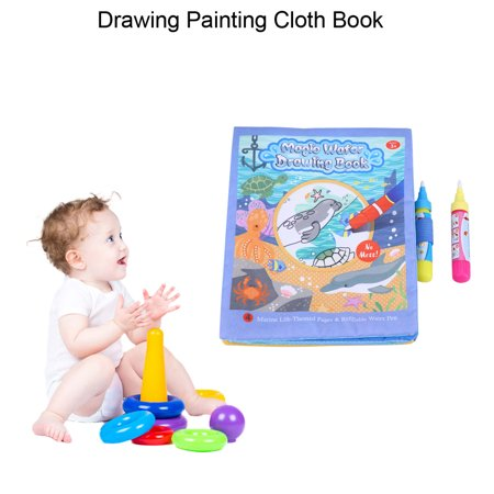 Ashata Baby Kids Water Drawing Painting Cloth Book With Pen Learning