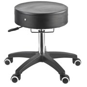 Master Adjustable Rolling Stool, Black