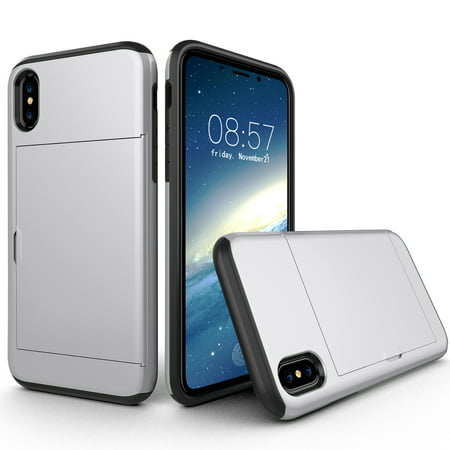Silver Tech Skinz - Allytech Case for iPhone XR Case Hybrid iPhone XR Wallet Case Dual Layer Protective Shell Hard PC Soft TPU Bumper Credit Cards Slot Cover for 2018 Apple iPhone XR 6.1