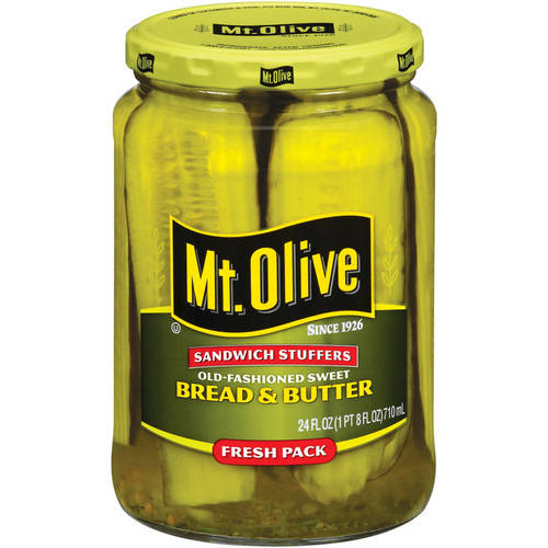 Mt. Olive Old Fashioned Sweet Bread And Butter Jumbo Sandwich Stuffers Pickle Slices, 24 oz