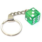 Clear Glitter Dice Keychain