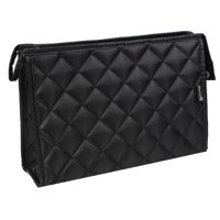 "Nylon Zip Closure Diamond Pattern Design Large Cosmetic Makeup Bag Clutch Bag Black w Mirror 10.6"" x 7"""