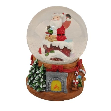 Elegantoss 100 MM Musical Christmas Santa in the Chimney Water Snow Globe with music in Poly resin ()