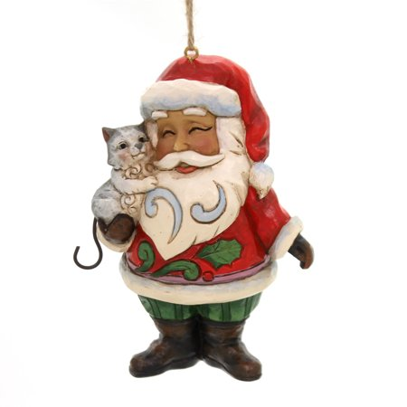 Jim Shore SANTA WITH CAT ORNAMENT Polyresin Heartwood Creek 4058824