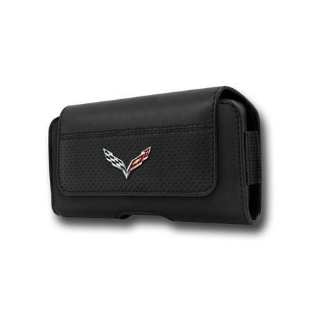 C7 Corvette Stingray Logo - Leather Cell Phone Belt Case : Black (Large)