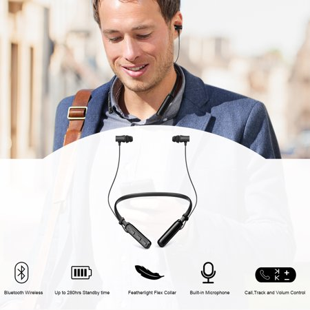 Wireles BT Earphone Best Wireles Neckband Headset Stereo Earphone Magnetic Earbuds Noise Reduction With Hi-Fi Stereo Built-in Mic For Sports