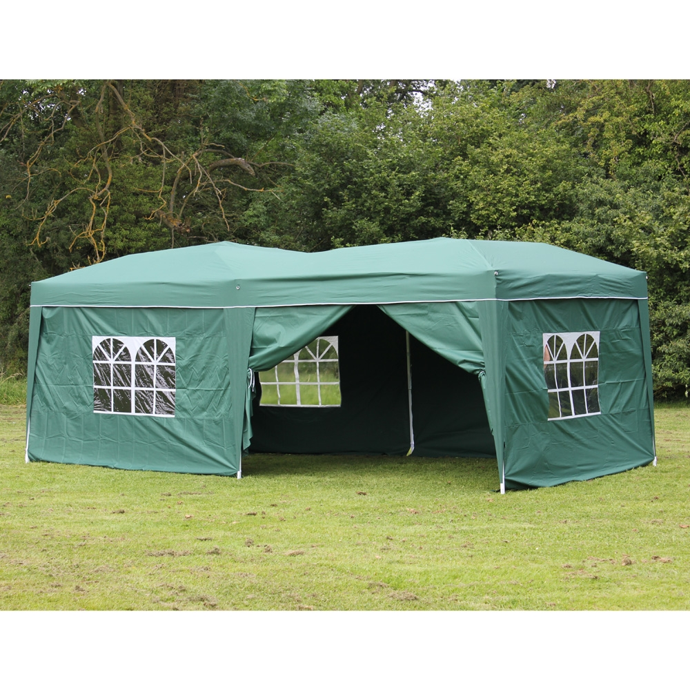 10 x 20 Palm Springs GREEN EZ Pop Up Canopy Gazebo Party Tent with 6 Side Walls