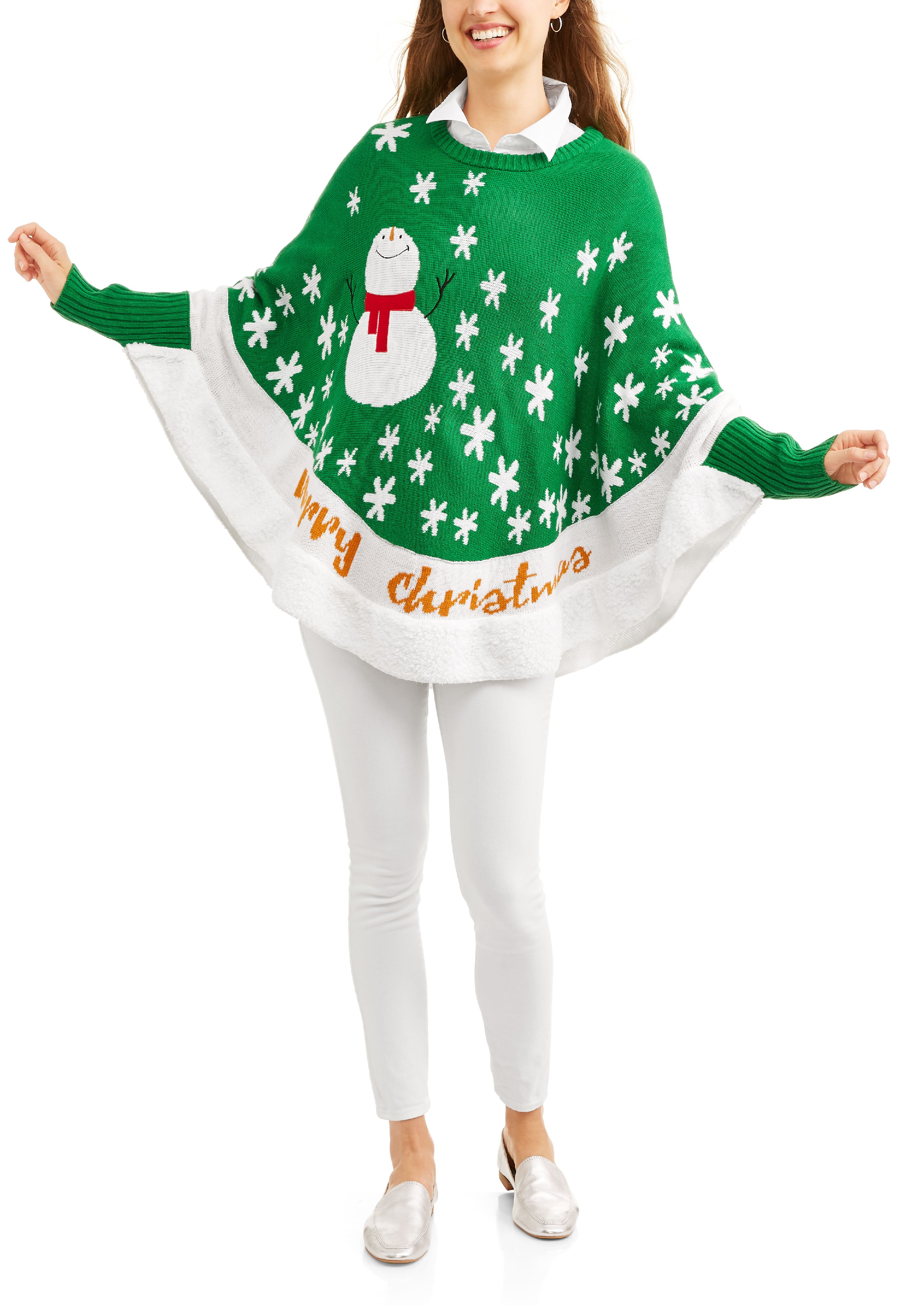 Women's Ugly Christmas Sweater Poncho with Sherpa Trim by