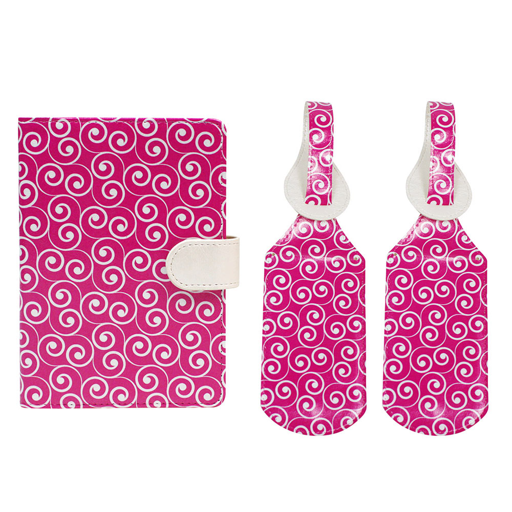 JAVOedge Women's RFID Blocking Full Protection Passport Case + Pen Holder and [2 PCS] Matching Printed Luggage Tags Set