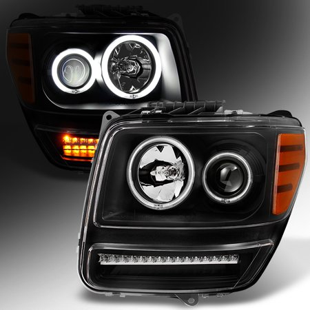 Fit 2007-2011 Dodge Nitro Dual CCFL Halo Black LED Signal Projector Headlights