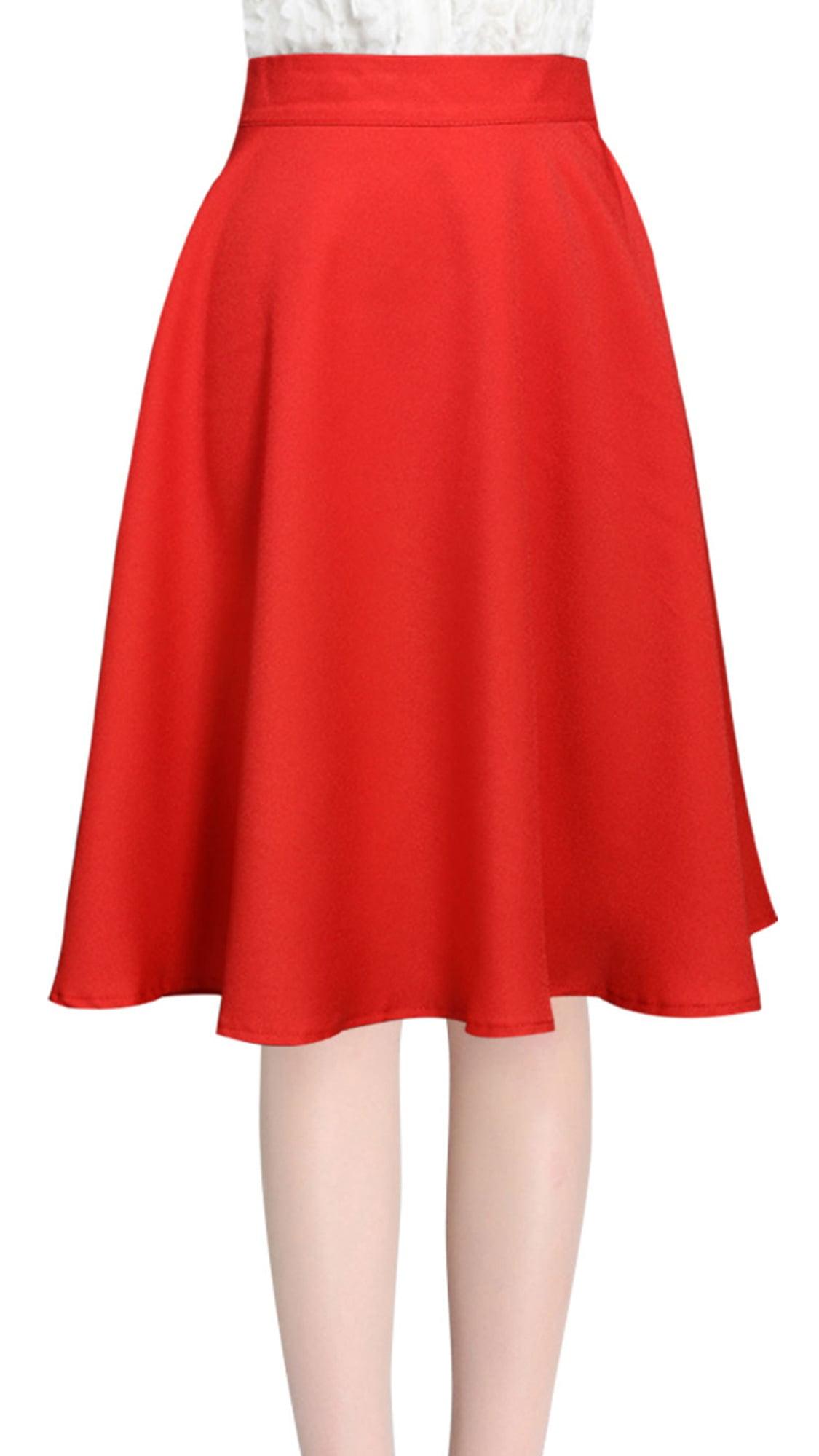 Knee Length Round Hem Stylish Full Skirt for Ladies by Unique-Bargains