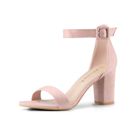 284H Woman Open Toe Chunky High Heel Ankle Strap Sandals Light Pink/US