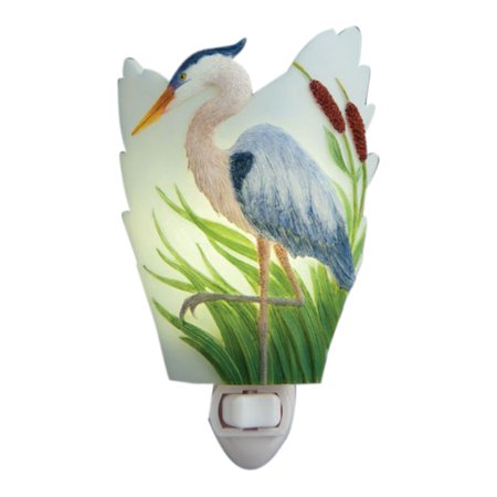 (Blue Heron Poised in Cattails Night Light Bonded Marble Electric)