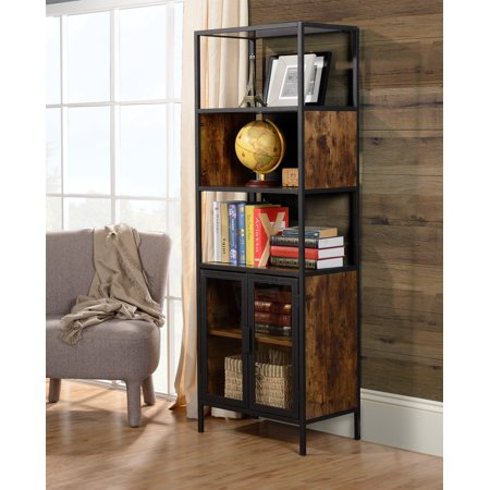 Homestar Hamilton Metal and wood display cabinet with glass doors in Antique  Wood Finish - Homestar Hamilton Metal And Wood Display Cabinet With Glass Doors In