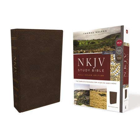 NKJV Study Bible, Premium Calfskin Leather, Brown, Full-Color, Red Letter Edition, Comfort Print : The Complete Resource for Studying God's Word