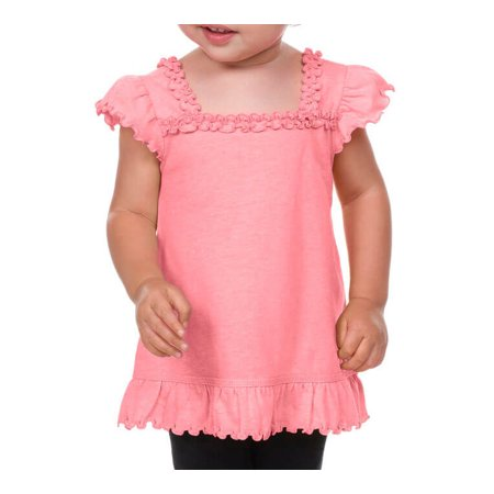 Kavio! Infants Sheer Jersey Ruffle U Neck Flutter Sleeve Top Flamingo 24M (Sheer Ruffle Neck Top)