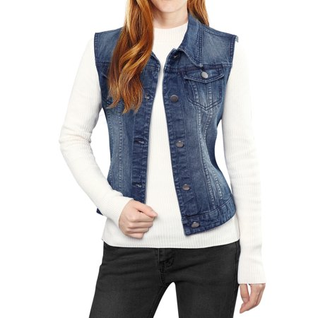 Women Buttoned Washed w Flap Pockets Denim Vest Coat Dark Blue XL (US (Lee Denim Vest)