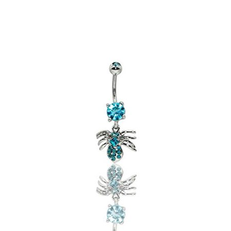 Multi Stone Dangle - Spider Multi Gem Dangle Hypoallergenic Surgical Steel Rhodium Plated 14G 3/8 bar length Belly Button Ring With Cubic Zirconia (Light Blue)