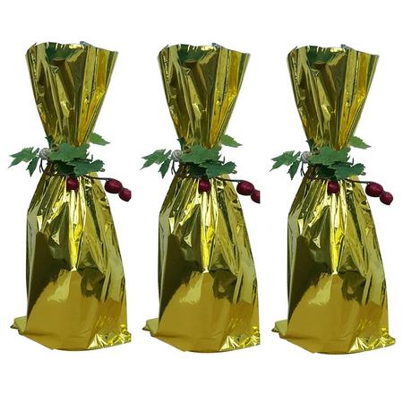 300 Gold Bottle Wine Bag 6 5 X 18 Flat Metallic Bags Tall Mylar Gift Pouch