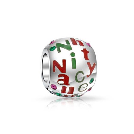 Red Green Naughty Nice Christmas Crystal Spacer Bead 925 Sterling Silver Core Fits European Charm Bracelet For Women