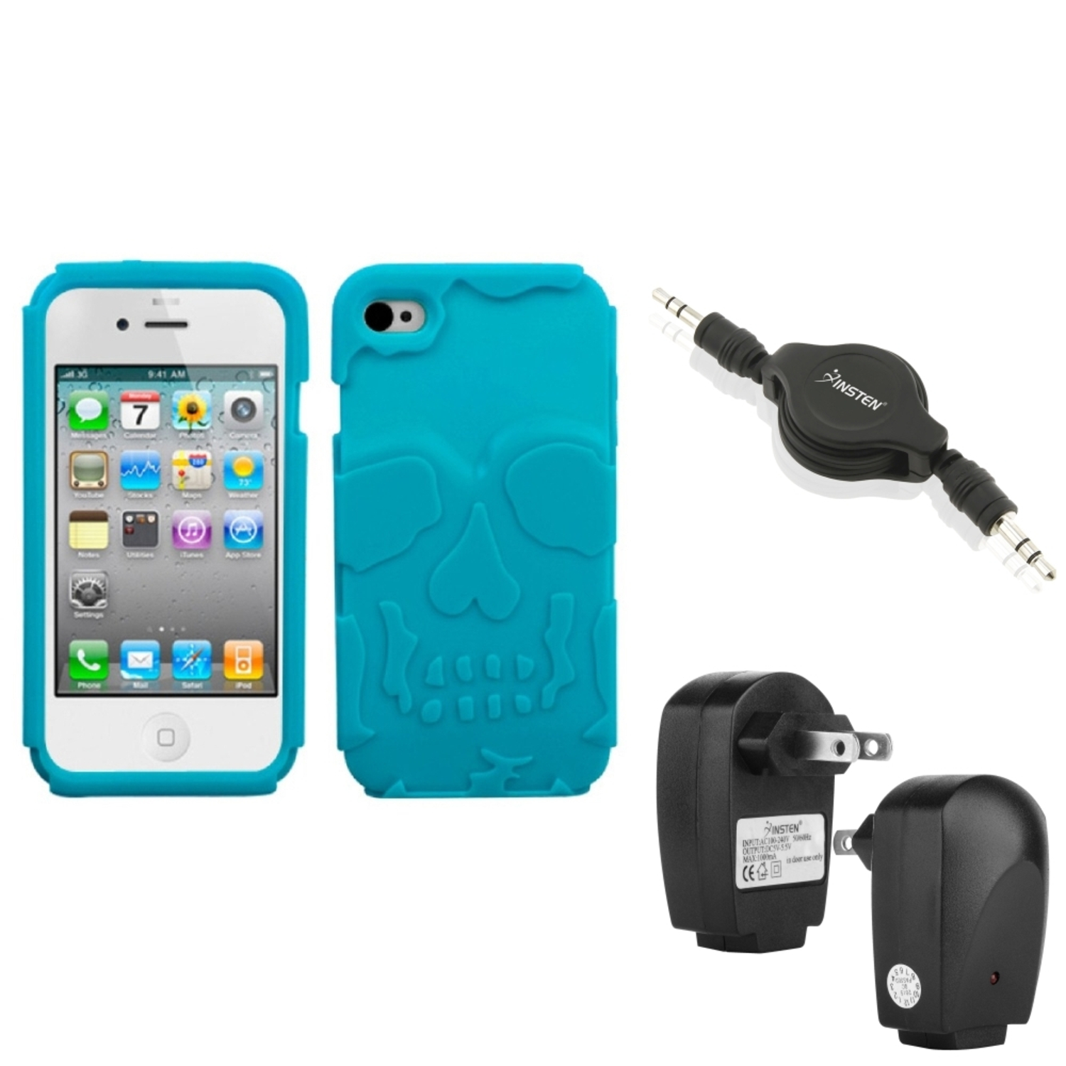 Insten Wall Charger+Audio Cable+Tropical Teal Green Skullcap Base Hybrid Case For iPhone 4S/4