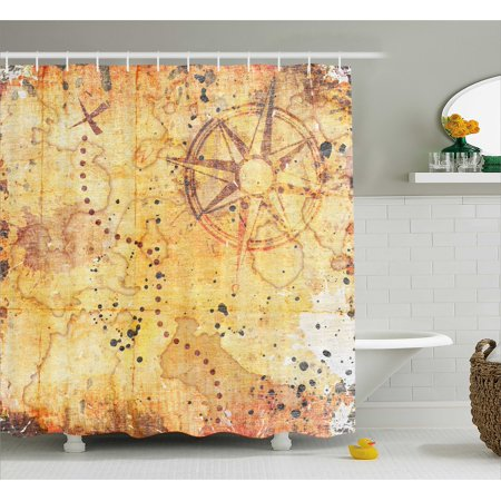 Island Map Shower Curtain, Antique Treasure Map Grunge Rusty Style Parchment Print History Theme Boho Design, Fabric Bathroom Set with Hooks, Beige, by Ambesonne ()
