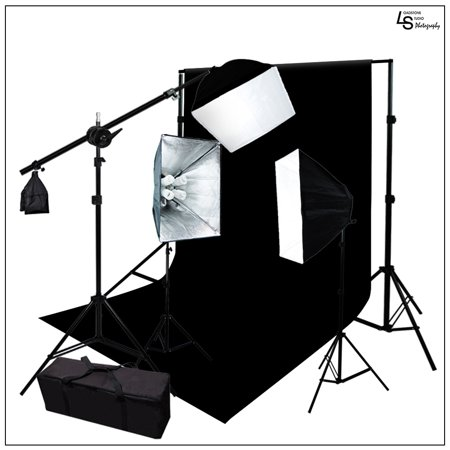2700W Softbox Diffuser Lighting Kit with 10' x 12' Black Muslin and Aluminum Alloy Backdrop Support System by Loadstone Studio  WMLS0770
