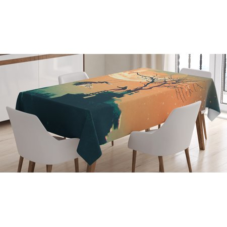 Fantasy World Decor Tablecloth, Spooky Night Zombie Bride and Groom Lady on Swing Sky Full Moon Image, Rectangular Table Cover for Dining Room Kitchen, 52 X 70 Inches, Orange Teal, by Ambesonne